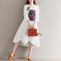 Phong Cách dân gian Thêu Nửa Tay Áo Vải Lanh Bông Phụ Nữ Lỏng Lẻo Váy Mùa Hè Mới Xanh Đỏ Xanh Trắng Rắn Màu Mùa Xuân
