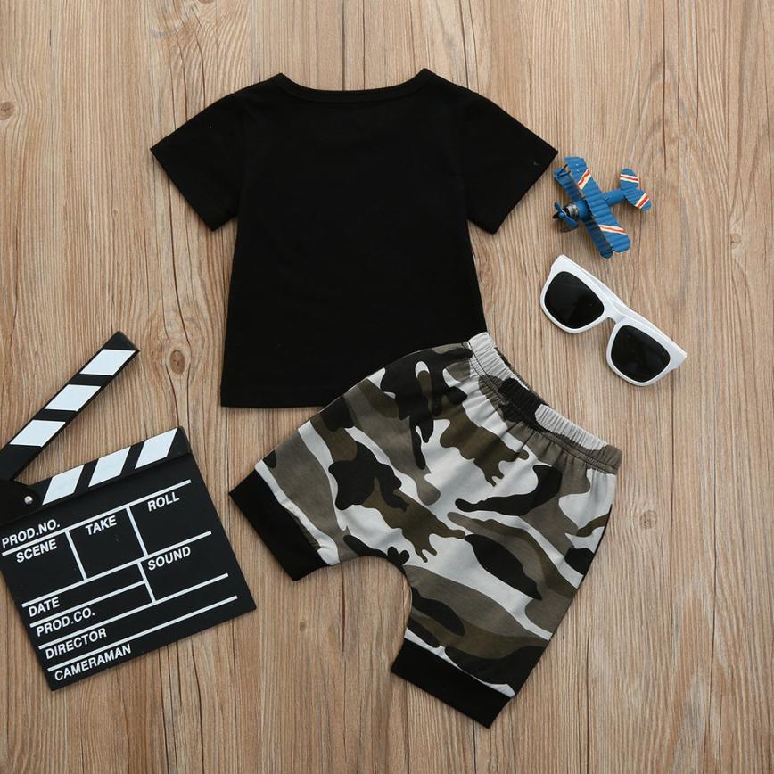 2018 Дети для маленьких мальчиков письмо футболка Топы + камуфляжные шорты Костюмы Одежда Set5.21