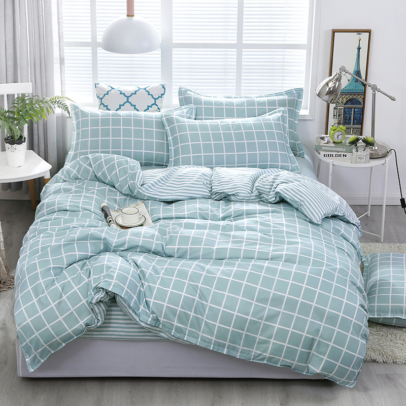 Fashion Green Grid Bedding Sets bed Linen Simple Style Duvet Cover Flat Sheet Bedding Set Winter Full King Single Queen Set 2019 in Bedding Sets from Home Garden
