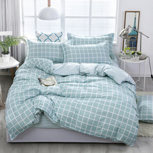 Fashion Green Grid Bedding Sets bed Linen Simple Style Duvet Cover Flat Sheet Bedding Set Winter Full King Single Queen Set 2019 allover grid print sheet set
