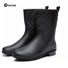 Fengnong Spring winter boots design mid-calf flat with boots women rain boots shoes woman solid rubber waterproof shoes w031