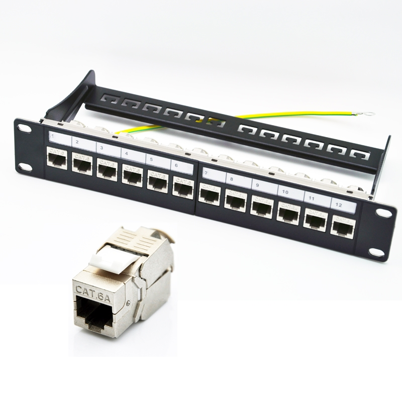 10inch 12 Port Cat6a Patch Panel Loaded Cat6a Keystone