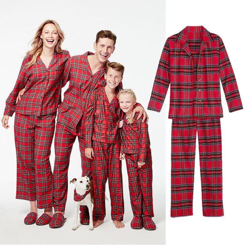 Fashion Plaid Christmas Pajamas Set Home Family Men Women ...