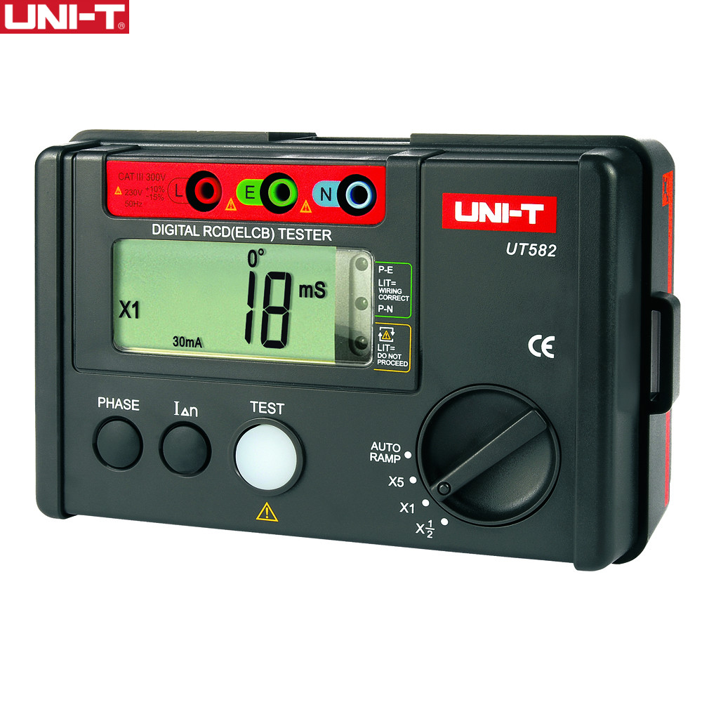 UNI-T UT582 Digital RCD (ELCB) Tester AUTO RAMP Leakage Circuit Breaker Meter with Mis-Operation Buzzer ut581 digital rcd tester meter leakage circuit breaker