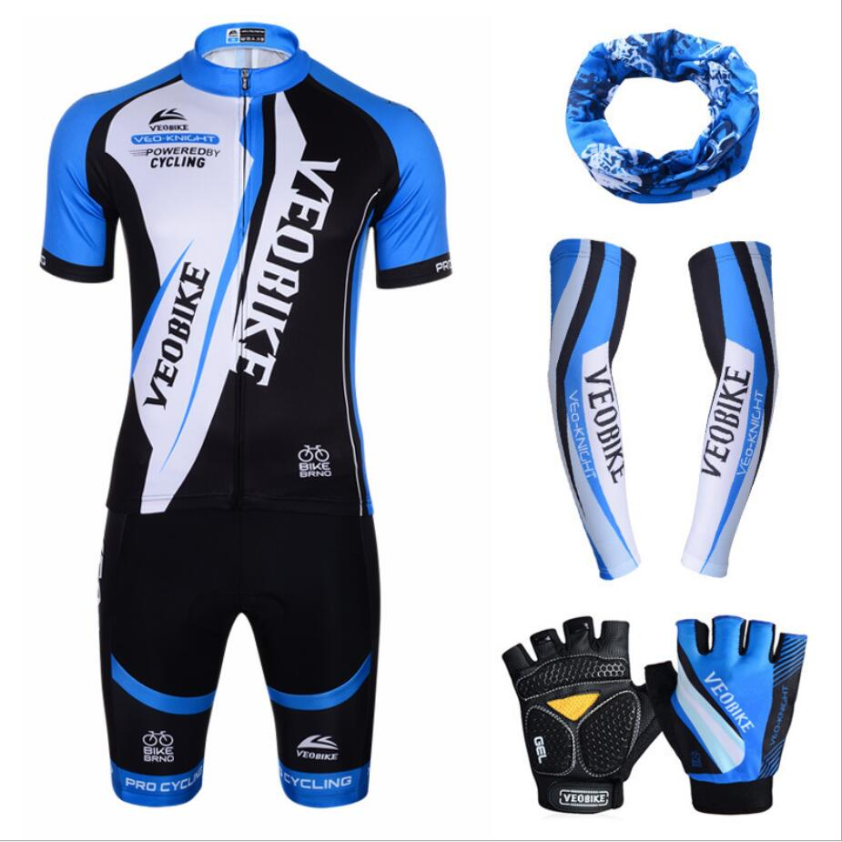 summer Breathable silicone cushion Night reflection MTB Cycling Jersey Set Pro Team Bike Clothing Men Women