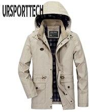 2018 Large Size Casual Men Jacket Thin Style Brand Long Overcoat Outwear Winter Windproof Hood M-5XL