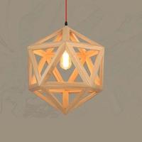 Nordic Pendant Lights Creative Wood Lamps Bedroom Restaurant Wood Personality Minimalist Wooden Chandelier Pendant Lamp WPL161