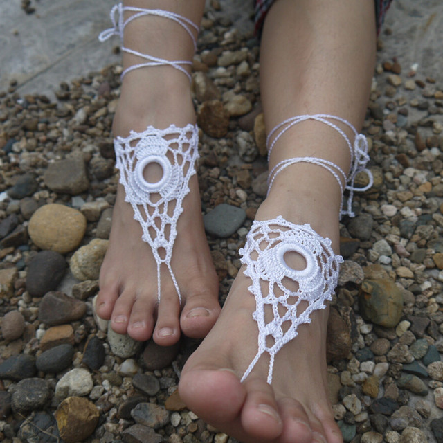 7616494bc0726 US $9.88 |Silk Wedding Crochet Barefoot Sandals, Nude shoes, Foot  Jewelry,Round Beach Wedding Accessory Beach Pool Sandals Boho Anklets-in  Anklets ...