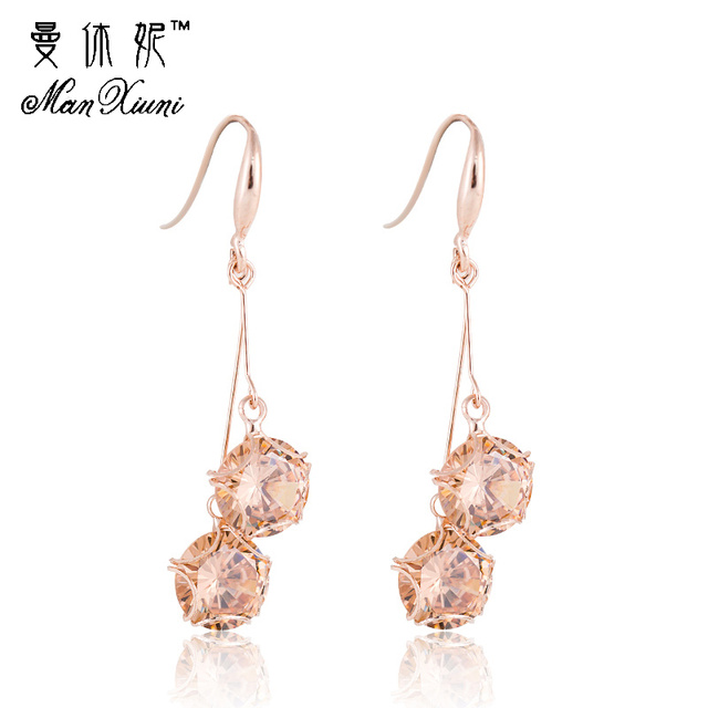 Earrings with stone Crystal Tassel exaggeration earrings ladies temperament long