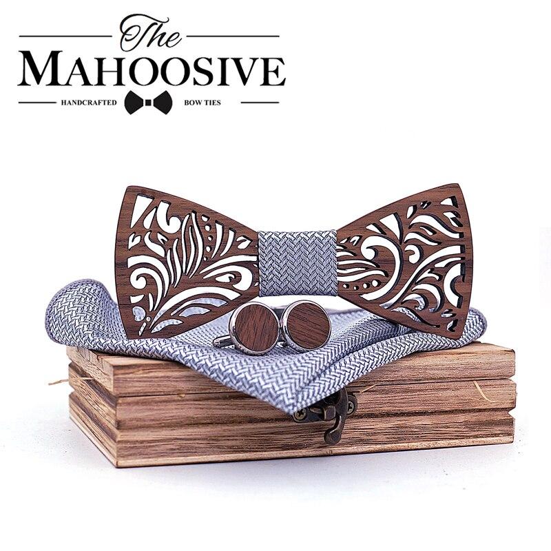 Conjunto de Pajarita de madera y pañuelo Pajarita corbata Cravate Homme Noeud Papillon Corbatas Hombre Pajarita regalo para hombres Chirstmas