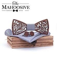 Wooden Bow Tie set and Handkerchief Bowtie Necktie Cravate Homme Noeud Papillon Corbatas H