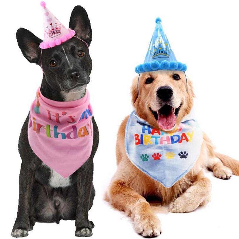 Pets Birthday Cap Hat Set Cloth Collar Headband Pet Kids Headdress Costumes Hair Band Party Festival Cat Dog 40DC28