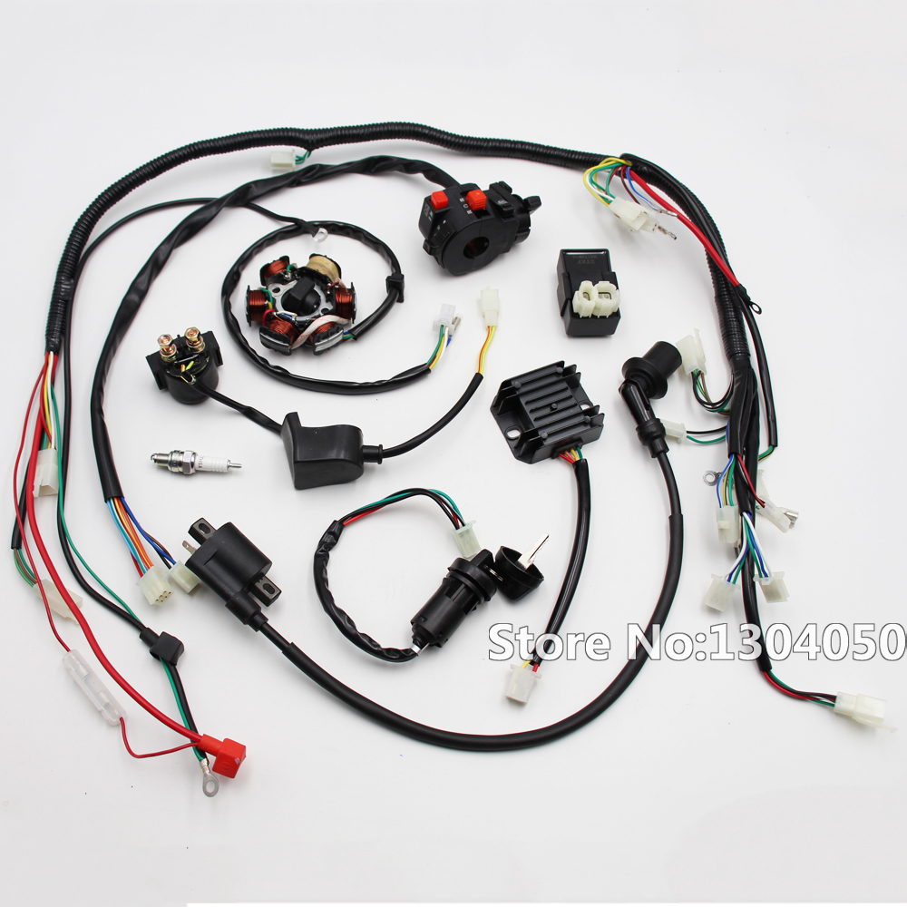 wiring harness gy6 150cc 125cc electrics atv buggy scooter wire loom stator magneto coil soleniod [ 1000 x 1000 Pixel ]