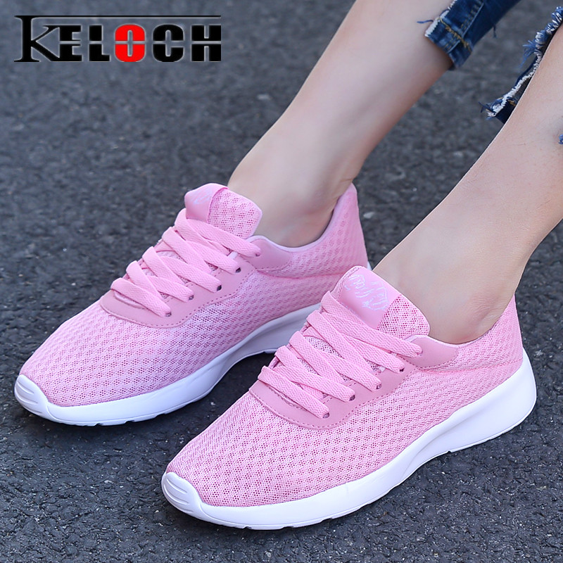 Keloch New Summer Mesh Shoes Woman Breathable Ladies Casual Shoes Lightweight Lace Up Flats Women Walking Sneakers Female instantarts casual women s flats shoes emoji face puzzle pattern ladies lace up sneakers female lightweight mess fashion flats