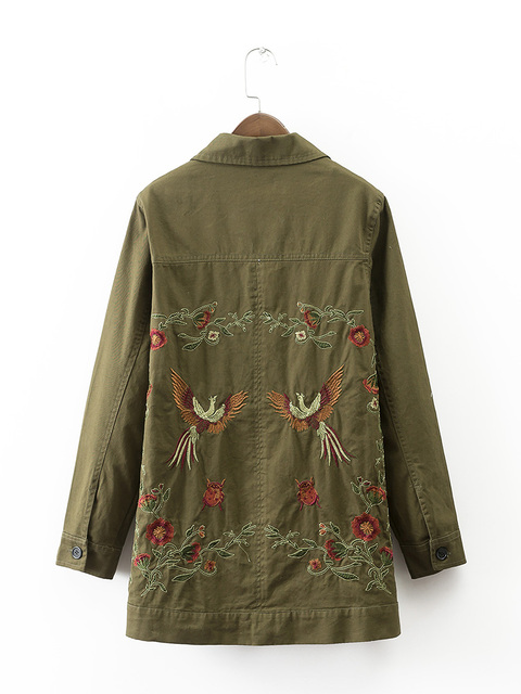 Вернуться Цветочные Животных Вышитые Женщины Длинные Куртки Два Карманы Army Green Военная Куртки Женские Пиджаки Свободные Дамы Пальто