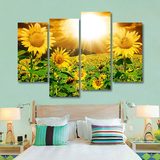 Fashion Sunrise Landscape Canvas Paintings 4 Panels Unframed Sunflower Wall  Art Pictures Home Decor For Living