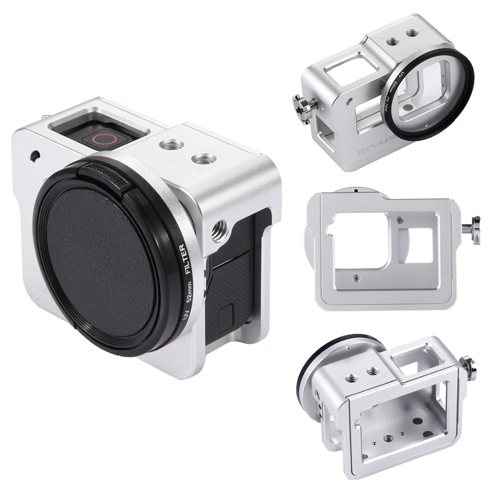 PULUZ for GoPro HERO /HERO6 /5 Housing Shell CNC Aluminum Alloy Protective Case Cage w/ Insurance Frame & 52mm UV Lens(Silver) highpro precision cnc aluminum alloy 52mm lens converter ring for gopro hero3 housing black