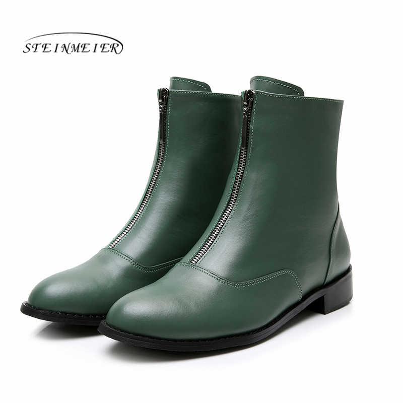 Kadın düz zip Çizmeler Hakiki deri Ayak Bileği kısa siyah sonbahar çizmeler kadınlar için kayma kışlık botlar 2019 ayakkabı chelsea çizmeler