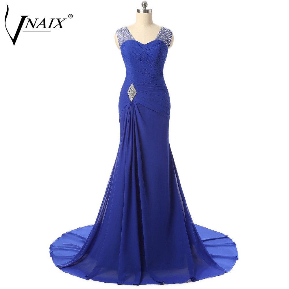 Вечерние платья Vnaix e1179 дешевые бирюзовый королевский синий Русалка вечернее платье с кристаллами и складки Vestido Noche largo