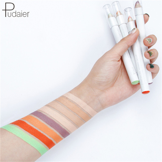 Pudaier 4g maquillaje crema facial Natural corrector de ojos resaltado lápiz brillo corrector de color resistente al agua Lápiz corrector