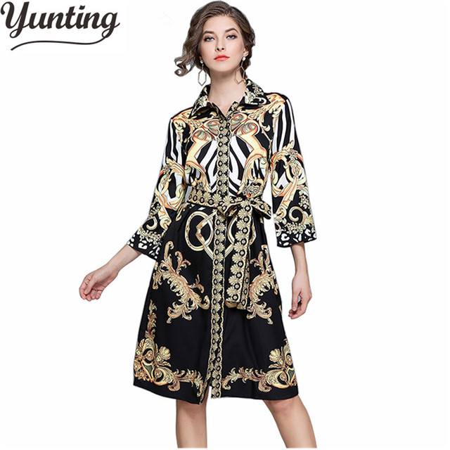 HIGH QUALITY 2018 Newest Fashion Women s Elegant Print Designer Runway Dress 4a2871290b