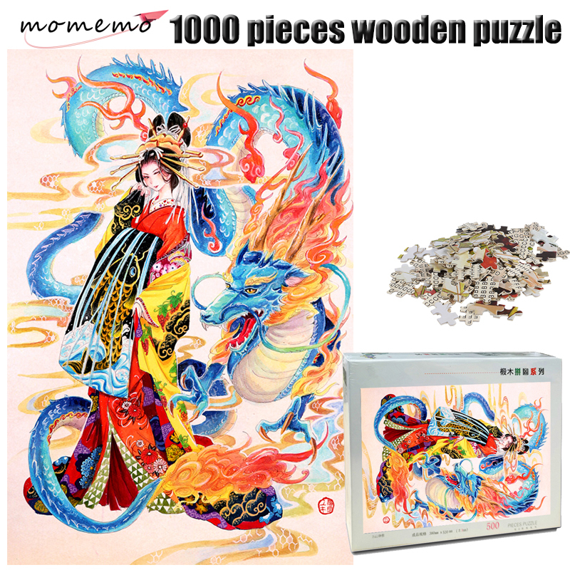 MOMEMO Dragon and Girl Wooden 1000 Pieces Jigsaw Puzzle Adult Hand Painted Color Puzzle IQ Challenging Puzzle Toys Kids Gifts