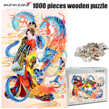 MOMEMO Dragon and Girl Wooden 1000 Pieces Jigsaw Puzzle Adult Hand Painted Color IQ Challenging Toys Kids Gifts
