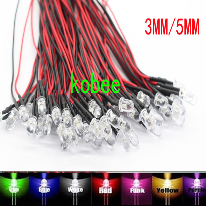 20PCS 3mm 5mm LED 12V 20cm Pre wired White Red Green Blue Yellow UV RGB Diodo Lamp Decoration Light Emitting Diodes Pre soldered-in LED Bulbs & Tubes from Lights & Lighting