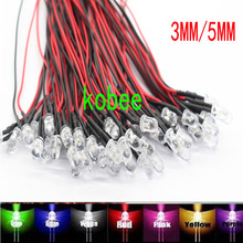 20PCS 3mm 5mm LED 12V 20cm Pre wired White Red Green Blue Yellow UV RGB Diodo Lamp Decoration Light Emitting Diodes Pre soldered