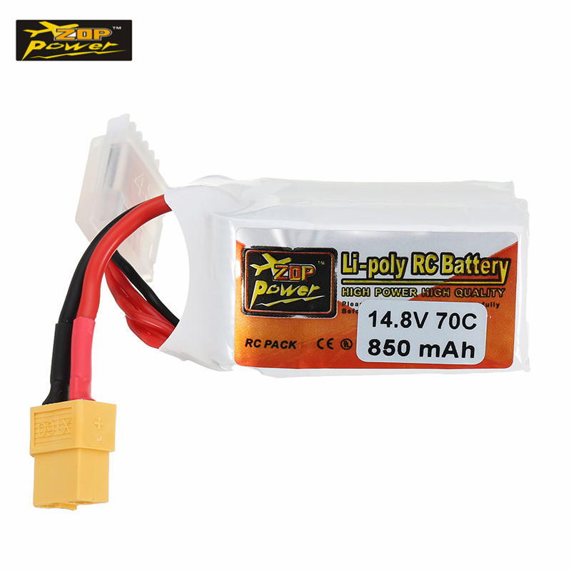 ZOP Power 14.8V 850mAh 70C 4S Lipo Battery XT60 Plug For RC FPV Racing Camera Drone Spare Parts Accessories tiger power 11 1v 550mah 60c 3s lipo battery jst plug for rc fpv racing camera drone spare parts accessories