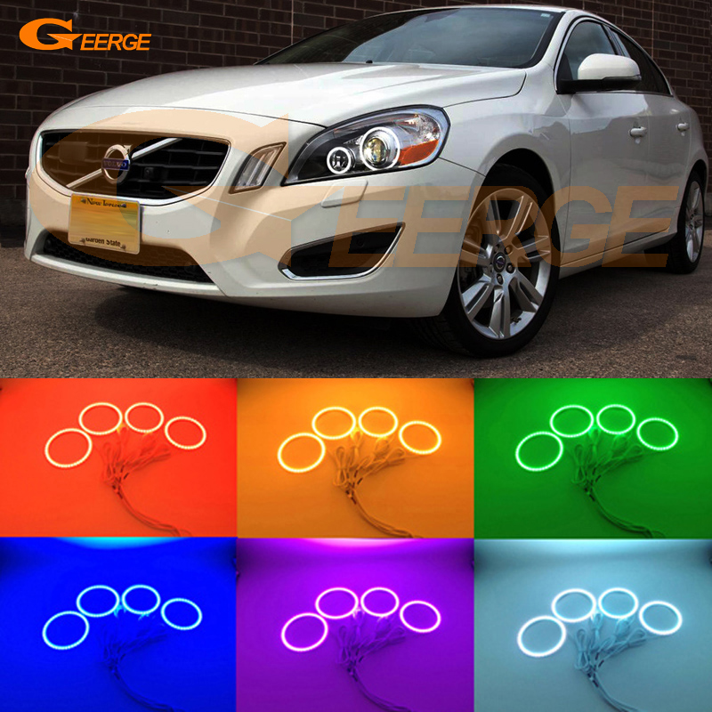 For Volvo S60 V60 2011 2012 2013 XENON HEADLIGHT Excellent Angel Eyes Multi-Color Ultra bright RGB LED Angel Eyes kit halo rings super bright led angel eyes for bmw x5 2000 to 2006 color shift headlight halo angel demon eyes rings kit