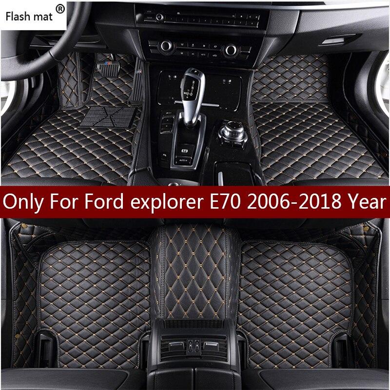 Флэш-мат кожаные автомобильные коврики для Ford explorer 2006-2013 2014-2016 2017 2018 Пользовательские Авто подкладка под ножки автомобильной ковровое покры...