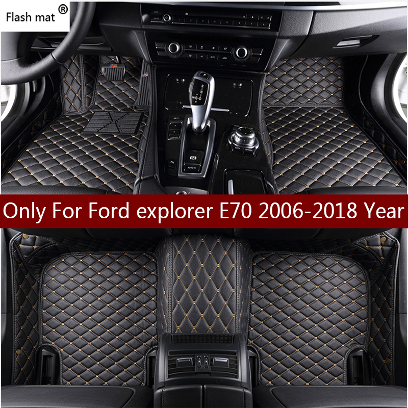 Flash mat leather car floor mats for Ford explorer 2006-2013 2014- 2016 2017 2018 Custom auto foot Pads automobile carpet coverFlash mat leather car floor mats for Ford explorer 2006-2013 2014- 2016 2017 2018 Custom auto foot Pads automobile carpet cover