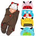 New Baby Cartoon Straddle-style Sleeping Bag Baby Stroller Baby BlanketsTowel Lovely Animal 4 Colors