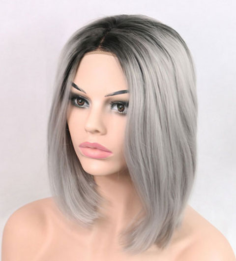 Short Hair Bob Wig Synthetic Lace Front Ombre Gray Lace Front Wig Bob Cheap Wigs-66