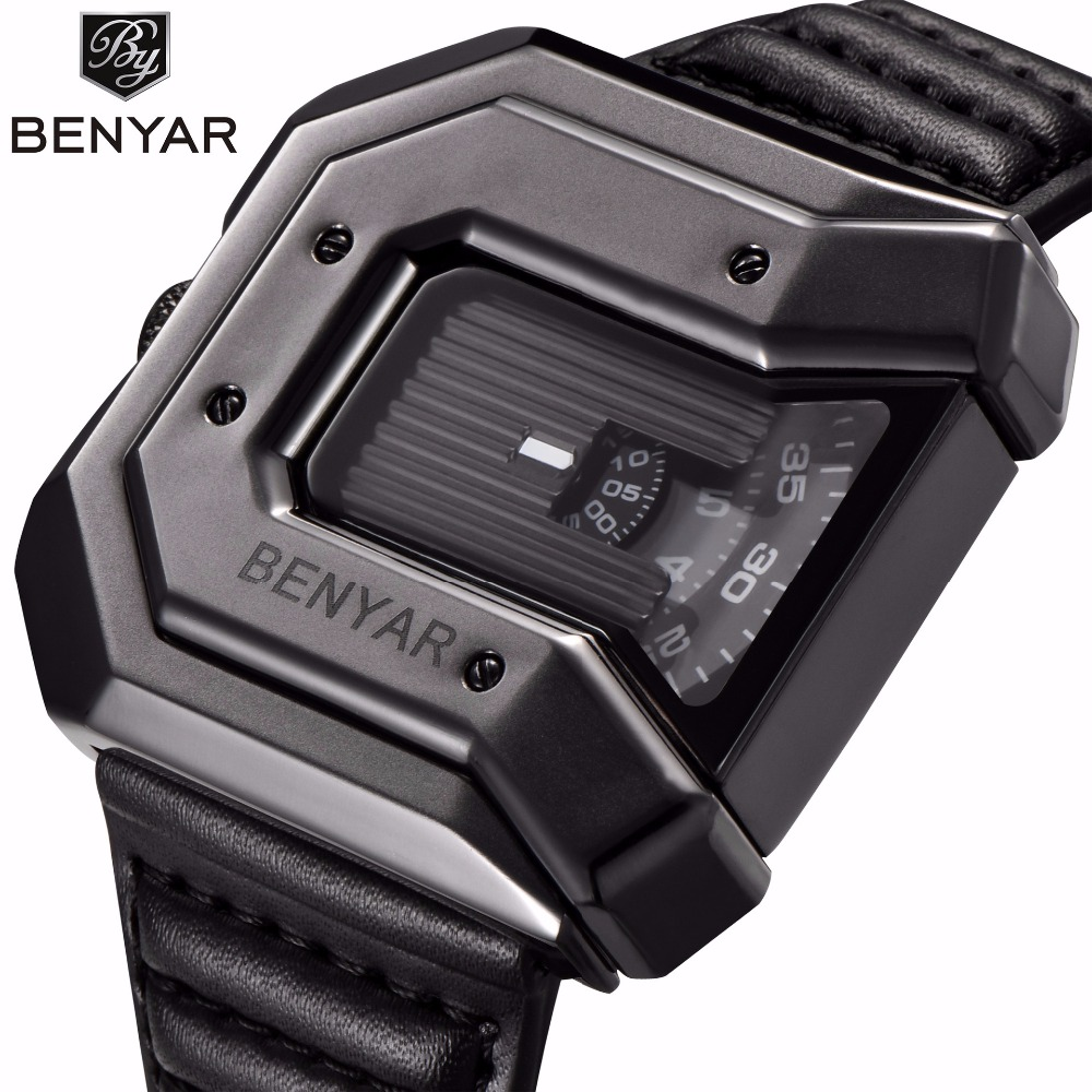 Benyar Fashion Quartz Watch Men Unique Rubber Strap Mens Watches Top Brand Luxury Waterproof Wristwatch Male Clock erkek saat top luxury brand mens fashion leather strap multifunction watches men quartz watch waterproof wristwatch male table clock reloj