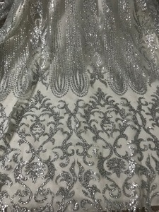Image 4 - silver Glued glitter Tulle Lace Fabric Embroidered Tulle Fabric JIANXI.C 52826 With glitter
