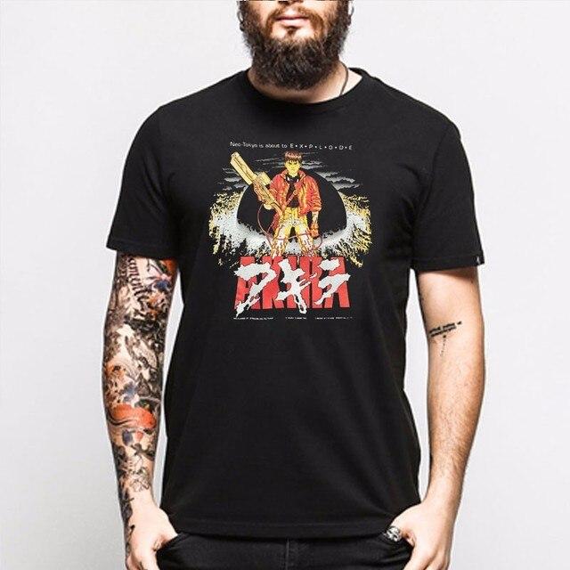 844933c94a Moda Hombres Akira Shotaro Kaneda Negro Camiseta de La Cápsula de La  Motocicleta Película de Anime
