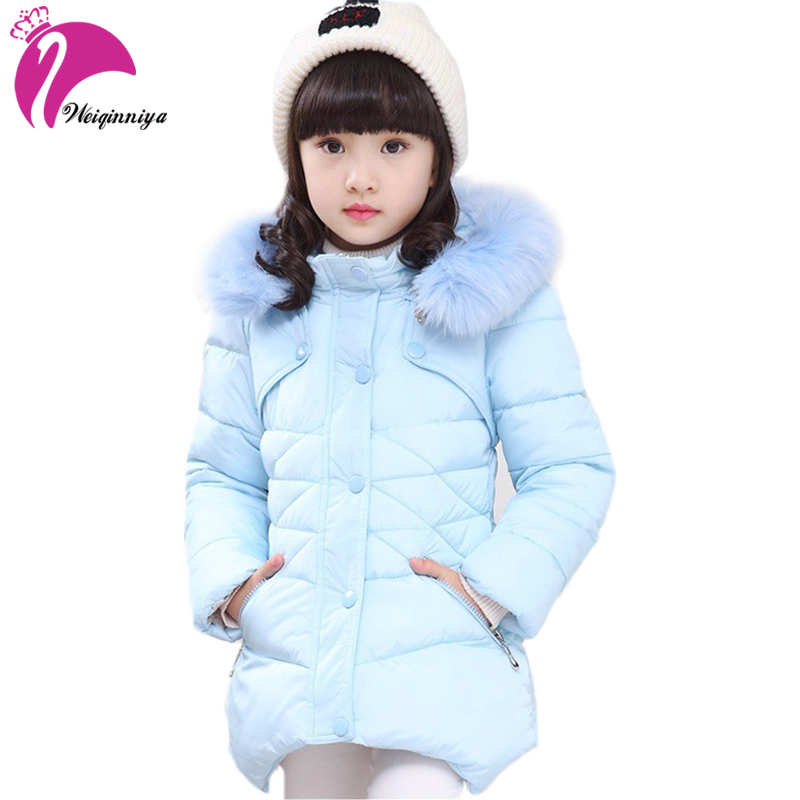 Children Jacket & Coats For Girls New 2018 Design Fashion Fur Hooded Thick Warm Parka Down Kids Clothes Cotton Outwear Clothing children winter warm hoodies coat for girls new design 2018 fashion casual cotton padded outwear parka kid clothes down jacket