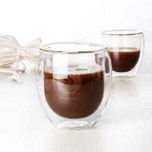 Shillytea 400ml Handmade Coffee Cup Double Layers Glass Tea Cup Heat Resistant European Coffee Glass