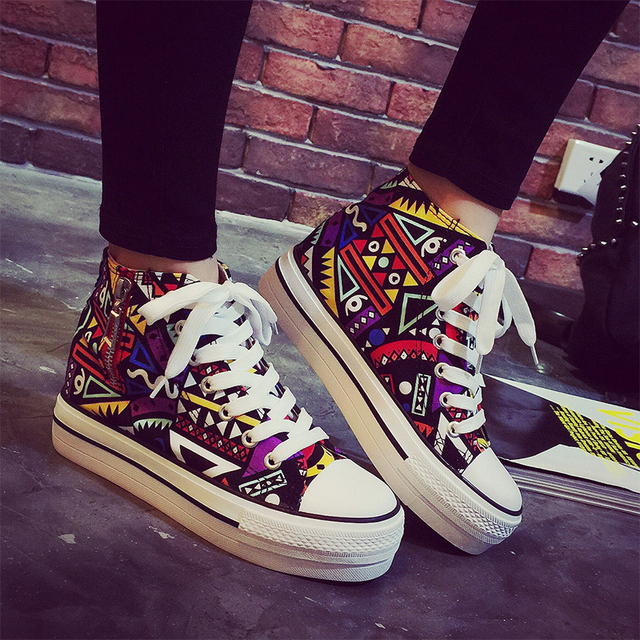 2016 spring summer high top canvas women shoes flower color graffiti Height Increasing casual women canvas shoes ST809
