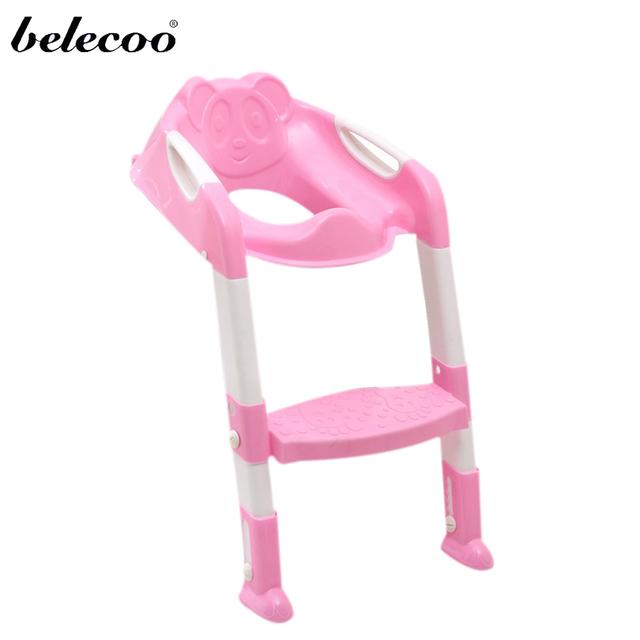 Belecoo 2 Cores Bebê Wc Instrutor Assento de Segurança Cadeira Passo com Escada Ajustável Infantil Treinamento do Toalete Assento Dobrável