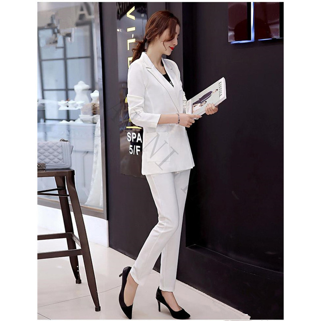b381a624bb0 Fashion White Red Black Women Tuxedos Shawl Lapel Suits For Women One Button  Business Women Suits Female Office Uniform