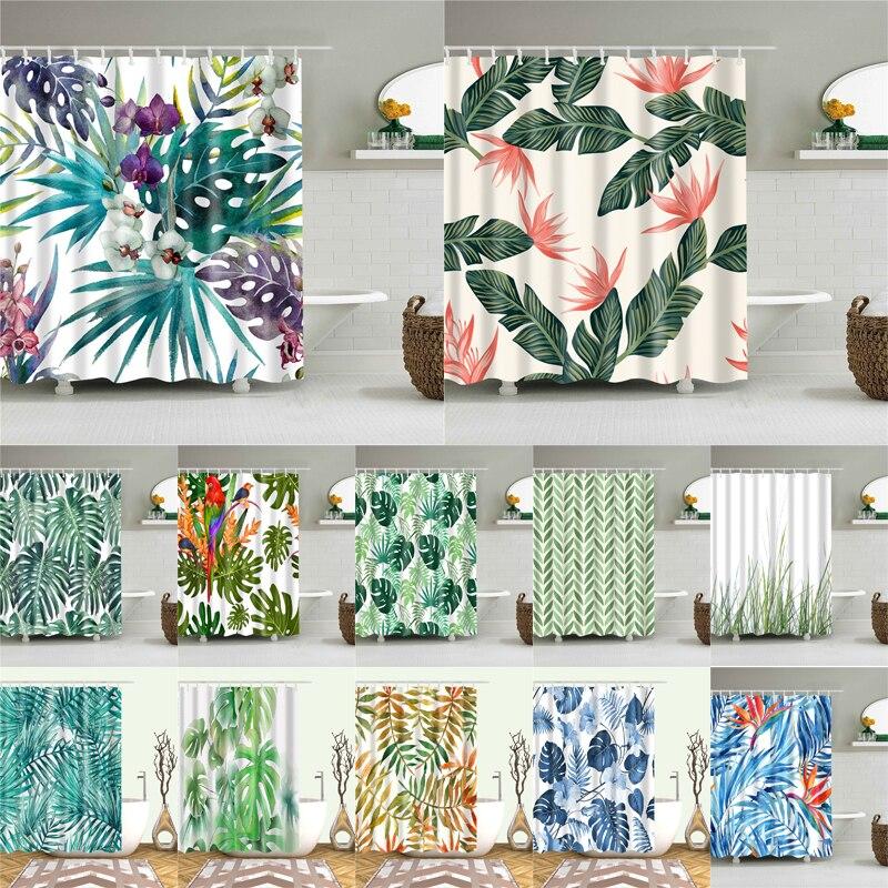 >african leaves prints bath <font><b>shower</b></font> <font><b>curtains</b></font> waterproof screen for bathroom home decoration <font><b>polyester</b></font> fabric washable <font><b>curtain</b></font>