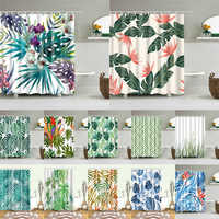 african leaves prints bath shower curtains waterproof screen for bathroom home decoration polyester fabric washable curtain
