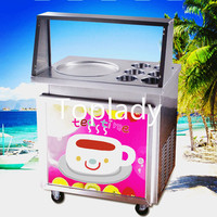 cost ffective fried ice cream roll machine,stainless steel ice pan machine, fried ice machine with LED light