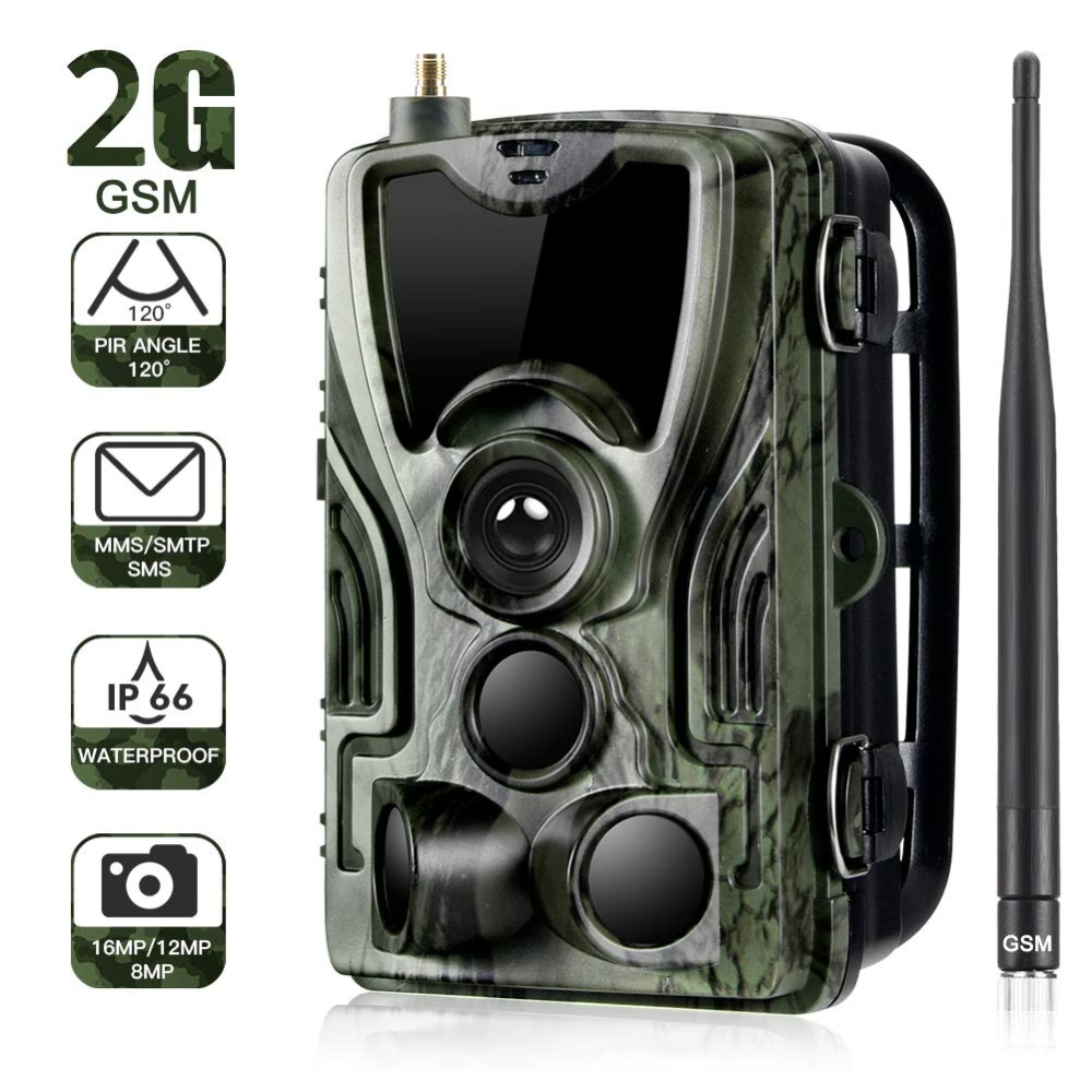 2G MMS SMS SMTP تريل الحياة البرية كاميرا 16MP 1080 P للرؤية الليلية الخلوية المحمول الصيد كاميرات HC801M اللاسلكي صور فخ