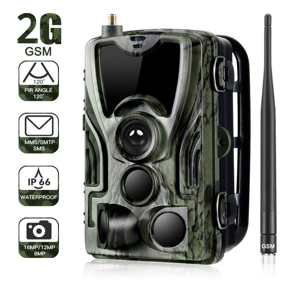 2G MMS SMS SMTP Trail สัตว์ป่ากล้อง 16MP 1080 P Night Vision มือถือกล้องล่าสัตว์ HC801M Wireless Photo trap