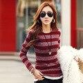 Autumn new long - sleeved t - shirt women 's large size Slim was thin Korean circular stripe knit backing shirt women do271