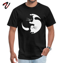 Yin Yang Cat Funny Fashion Mystic Sleeve Printed On Top T-shirts Pulp Fiction Round Neck Mens Tops Shirt T Autumn